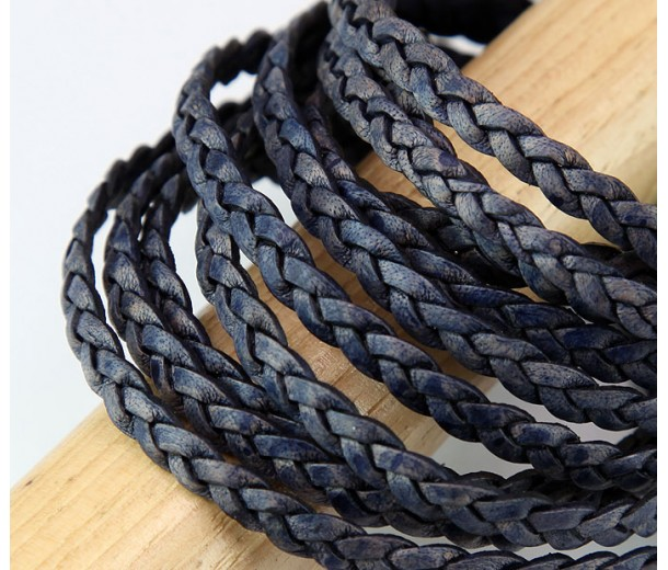5mm Matte Midnight Blue Flat Braided Leather Cord, Pack of 2 Meters