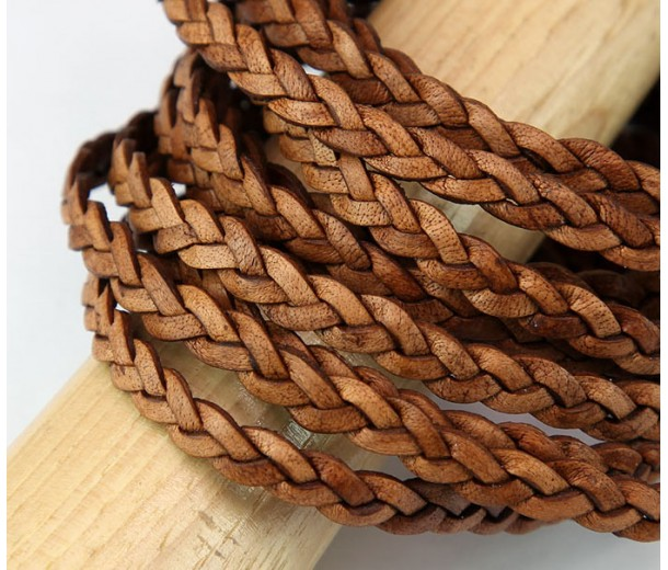 5mm Matte Light Brown Flat Braided Leather Cord, Pack of 2 Meters