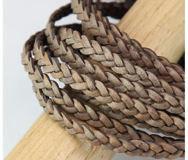 5mm Matte Beige Flat Braided Leather Cord, Pack of 2 Meters