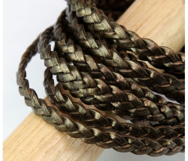 5mm Metallic Brassy Brown Flat Braided Leather Cord, Pack of 2 Meters