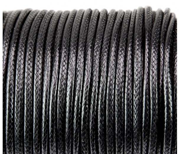 3mm Round Waxed Polyester Cord, Black