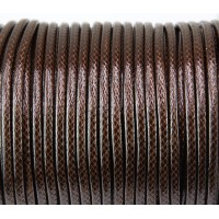 3mm Round Waxed Polyester Cord, Dark Brown