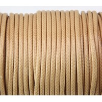 3mm Round Waxed Polyester Cord, Camel Brown