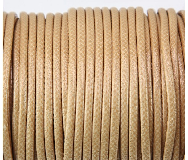 4mm Round Waxed Polyester Cord, Camel Brown