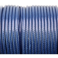 3mm Round Waxed Polyester Cord, Blue, Sold by Yard