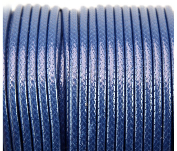 3mm Round Waxed Polyester Cord, Blue