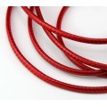3mm Round Waxed Polyester Cord, Red, Sold by Yard