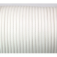 4mm Round Waxed Polyester Cord, White, Sold by Yard