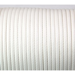 4mm Round Waxed Polyester Cord, White