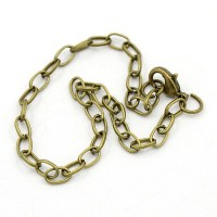 8 inch Cable Chain Bracelet, Antique Brass