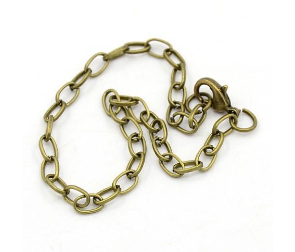 8 inch Cable Chain Bracelet, Antique Brass