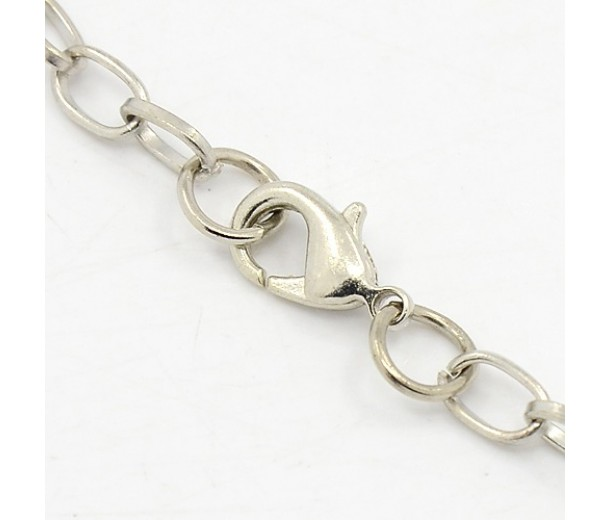 8 inch Cable Chain Bracelet, Rhodium Plated