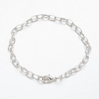 8 inch Cable Chain Bracelet, Silver Tone
