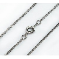 18 Inch Finished Filed Cable Chain, Antique Silver