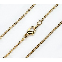 18 Inch Finished Filed Cable Chain, Gold Plated