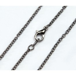 18 Inch Finished Fine Cable Chain, Gunmetal