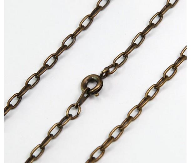 18 Inch Finished Drawn Cable Chain, Antique Brass