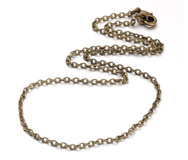 18 Inch Finished Regular Cable Chain, 3mm Thick, Antique Brass