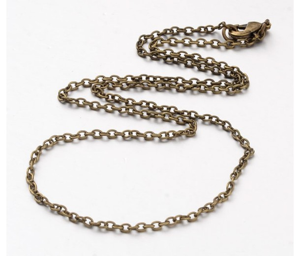 24 Inch Finished Regular Cable Chain, 3mm Thick, Antique Brass