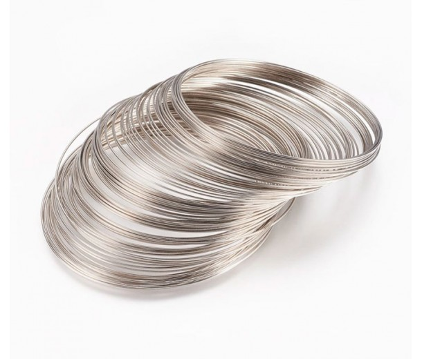 Steel Memory Wire, Rhodium Finish, 55mm Coil Diameter