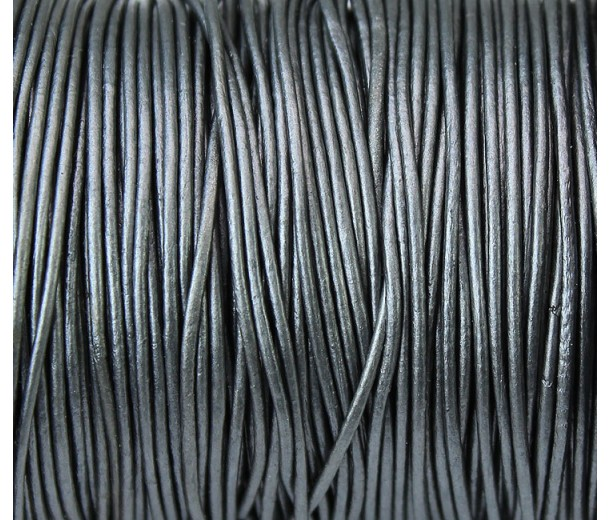 0.5mm Metallic Grey Round Leather Cord, Sold by Yard