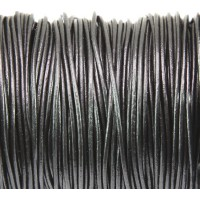 1mm Gunmetal Round Leather Cord, Sold by Yard