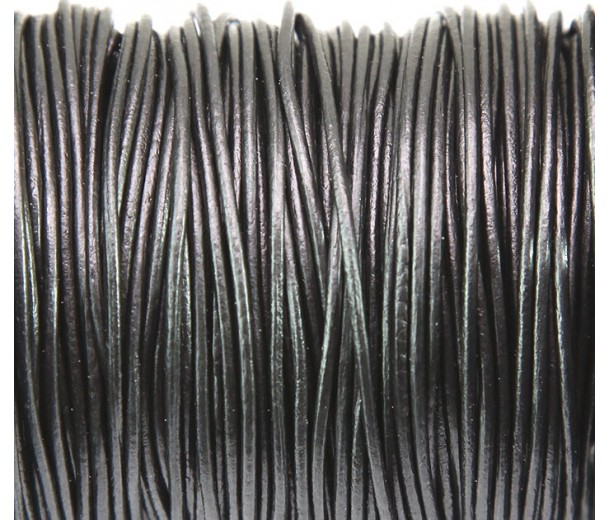 1mm Gunmetal Round Leather Cord