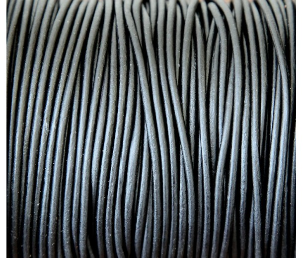 2mm Matte Black Round Leather Cord, Sold by Yard