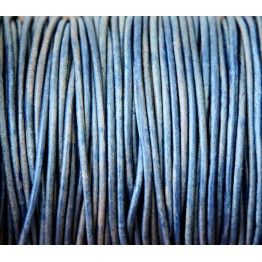 2mm Natural Blue Round Leather Cord