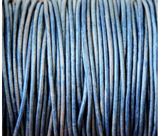 2mm Matte Blue Round Leather Cord, Sold by Yard