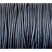 2mm Matte Midnight Blue Round Leather Cord, Sold by Yard