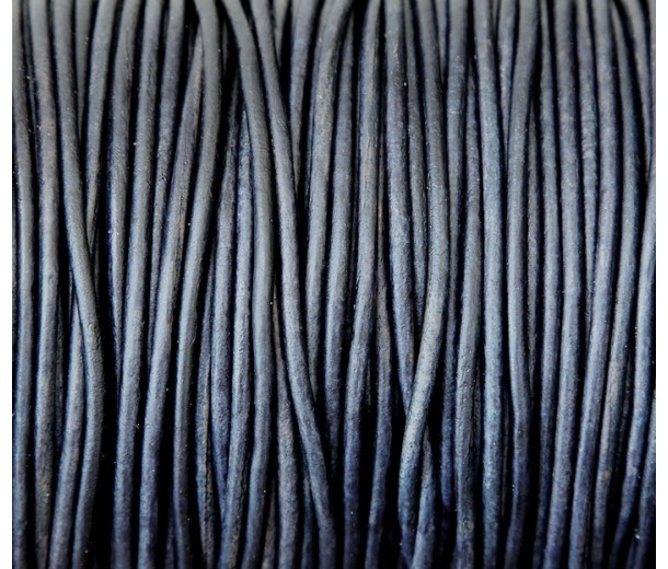 2mm Natural Midnight Blue Round Leather Cord