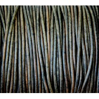 2mm Natural Dark Green Round Leather Cord, Sold by Yard