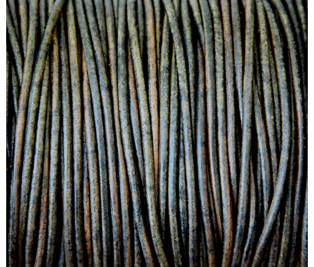 2mm Matte Dark Green Round Leather Cord, Sold by Yard