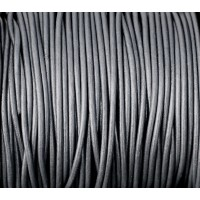 2mm Metallic Grey Round Leather Cord, Sold by Yard