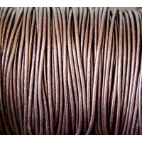 2mm Metallic Dark Brown Round Leather Cord, Sold by Yard