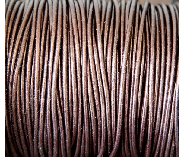 2mm Metallic Dark Brown Round Leather Cord