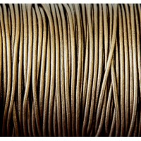 2mm Metallic Brassy Brown Round Leather Cord, Sold by Yard