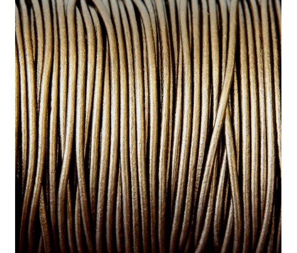 2mm Metallic Brassy Brown Round Leather Cord