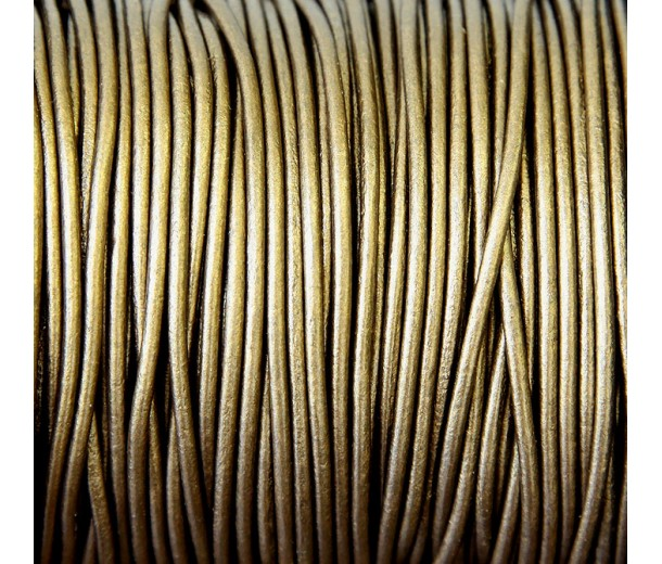2mm Metallic Bronze Round Leather Cord, Sold by Yard