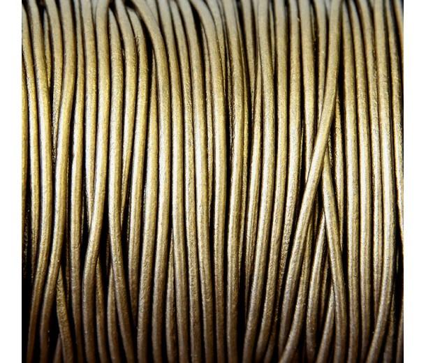 2mm Metallic Bronze Round Leather Cord