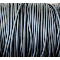 3mm Matte Black Round Leather Cord, Sold by Yard
