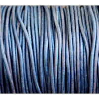 3mm Matte Blue Round Leather Cord, Sold by Yard