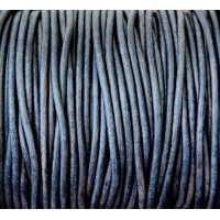 3mm Matte Midnight Blue Round Leather Cord, Sold by Yard