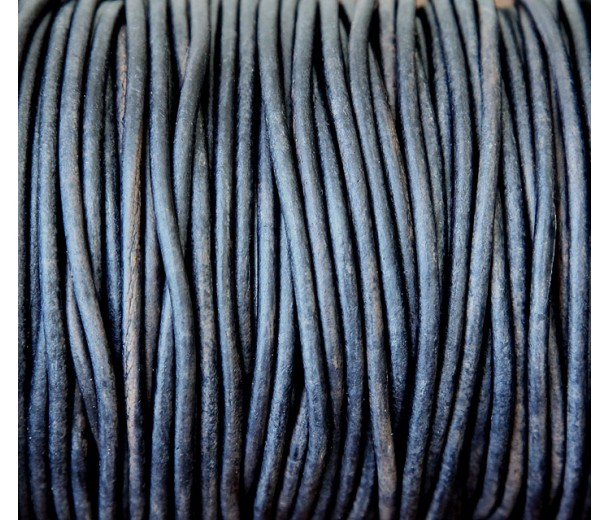 3mm Natural Midnight Blue Round Leather Cord