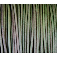 3mm Natural Dark Green Round Leather Cord, Sold by Yard