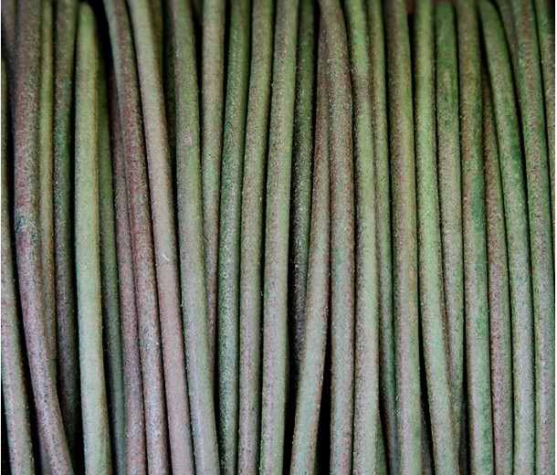 3mm Matte Dark Green Round Leather Cord, Sold by Yard