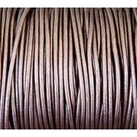 3mm Metallic Dark Brown Round Leather Cord, Sold by Yard