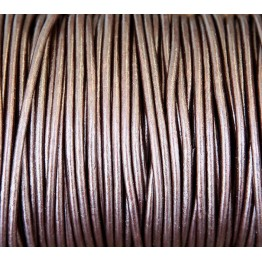 3mm Metallic Dark Brown Round Leather Cord