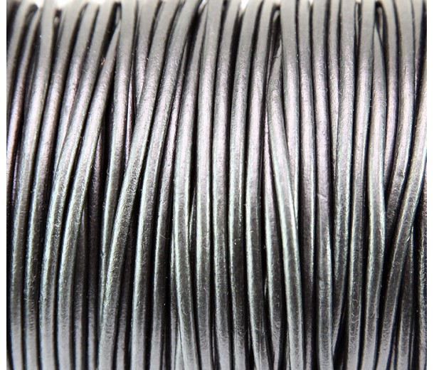 3mm Gunmetal Round Leather Cord, Sold by Yard
